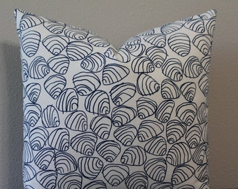 """SALE - BOTH SIDES - Hable Construction - Navy Shells - 18"""", 20"""" or 22"""" or Lumbar Sizes - Decorative Designer Pillow Cover"""