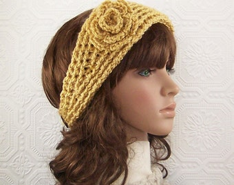 Crochet headband, headwrap, earwarmer - mustard, maize color - women's accessories - adult headband by Sandy Coastal Designs - ready to ship