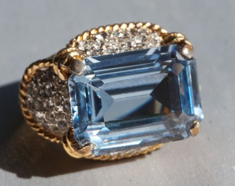 Panetta Designer Sterling Silver with Gold Plate Blue Topaz Crystal Rhinestone Cocktail Ring