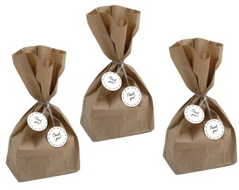 Party Favor Bags with Thank You Twist Ties, Treat Bags, Thank you Party Decorations - No1092