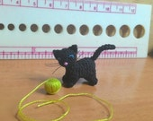 tiny crochet black kitten cat - dollhouse decor - tiny amirugumi cat