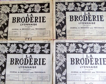 FRENCH MAGAZINE EMBROIDERY  Set of 4 Designs Pattern Sheet Vintage La Broderie Lyonnaise.