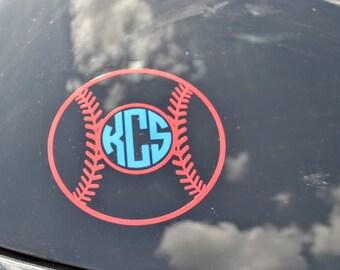 Baseball Monogram Decal - Car Decal - Baseball - Monogrammed - Window
