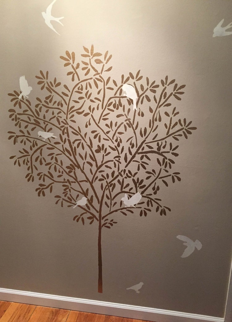 Stencil Large Olive Tree Wall Stencil By Oliveleafstencils