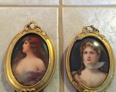 Set of 2 small antique oval pictures on porcelain in gold frames