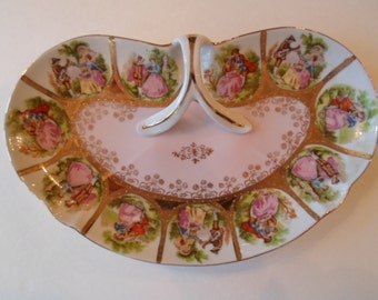Pretty Victorian Couples in Love Handled Pink  and Gold  Sweet Plate