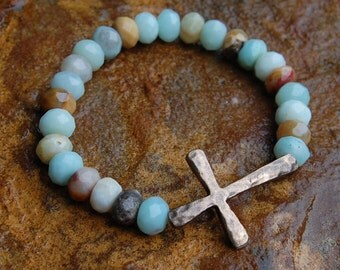 Hammered Small Bronze Cross & Faceted Amazonite Bracelet