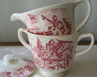 Vintage Red Transferware Creamer and Covered Sugar Bowl Historical America Homer Laughlin Replacements 1940s