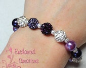 Pearls With Purple Tones Pave Rhinestone Beaded Stacking Bracelet, Summer Fun, Birthday Gift, Holiday Gift