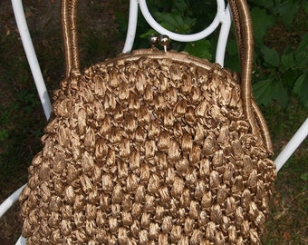 Vintage Raffia bag in a golden Taupe - Made in Japan