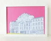 Edinburgh Castle Print, Edinburgh Castle and Grassmarket, Hot Pink art print, art, Picture of Edinburgh, Scotland, Mother's Day gift