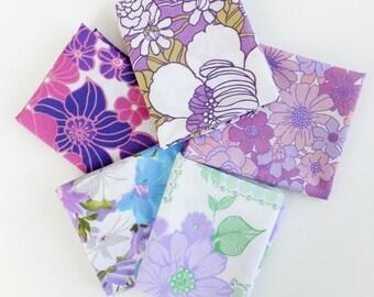 Vintage Fat Quarter Bundle, Purple fabrics, Lilac fabric fat quarters