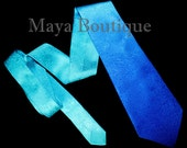 Art to wear Silk Neck Tie Hand Dyed Blue Turquoise Ombre Maya Matazaro + Gift Box
