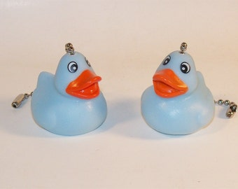 Pair of Rubber Ducky Ceiling Fan Light Pull Chain Set Blue