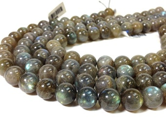 Full strand of Beautiful A Grade 8 mm. Labradorite Smooth Round Beads (MJ0803W40) BH
