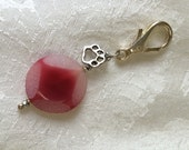 Hot Pink Agate Charm - Zipper pull - attach to anything - semiprecious gemstone healing