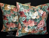 Decorative Pillows, Accent Pillows, Pillow Covers, 18 Inch Pillows, Cushion Covers -Green and Peach Floral - Two 18 Inch