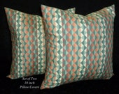 Decorative Pillows, Accent Pillows, Pillow Covers, 18 Inch Pillows, Cushion Covers, Southwestern Pillows - Coral and Green - Two 18 Inch