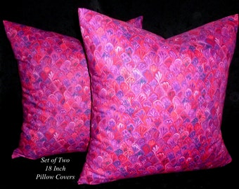 Decorative Pillows, Accent Pillows, Pillow Covers, 18 Inch Pillows, Cushion Covers - Pink and Purple - Two 18 Inch