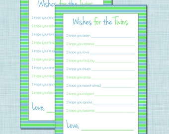 Wishes for Twins Baby Shower Game for Twin Boys in Blue and Green
