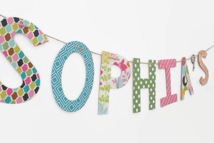 Custom Name Banner ~ Fabric Banner ~ Fabric Letters ~ SOPHIA Collection