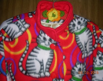 Cats Kitties Fleece Jacket Coat-Women's 2X-Handmade-New