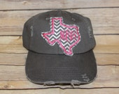 TEXAS HAT with Hot Pink Initials