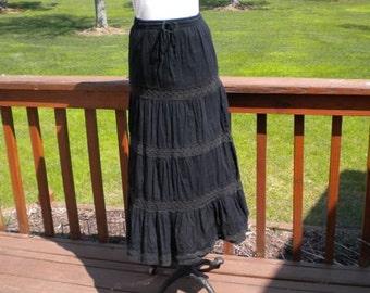 Vintage Black  Crochet  Hippie Woodstock  Flower Child Skirt