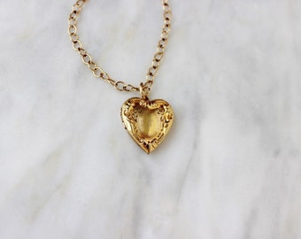 50s - 60s - Locket - Heart - Love - Charm - Necklace - Vintage - Jewelry - Gold - Antique