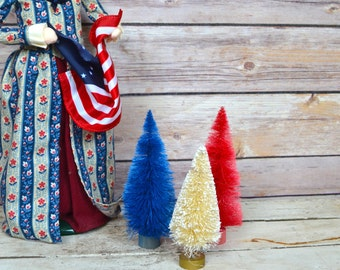 "4th of July Fourth Bottle Brush Christmas Trees Red White Blue table decor 4"" Set of 3 Patriotic"