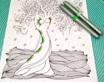 Tree Coloring Page Zentangle Kids Adult Doodle Design Printable Instant Download Zen Art Therapy