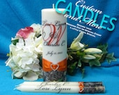 Unity Candle With Tapers Script Monogram Mossy Oak Design