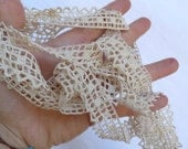 1940s Cream Lace , French Handmade, Trim and Tapes, Long Lace Vintage, French handwork, Cream small lace, Thin handmade Lace