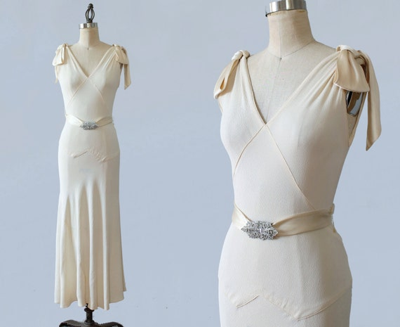 1930s Wedding Dress / 30s Silk Crepe Ivory Gown / Bias Cut