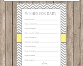 Wishes for Baby Card, Printable Baby shower game / activity card, Yellow and Gray, Gender Neutral Wishes for Baby - INSTANT DOWNLOAD