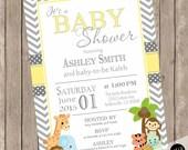 Yellow and gray baby shower invitation, safari baby shower invitation, neutral baby shower invitation, jungle baby shower invitations