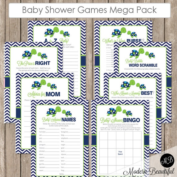 sea turtle baby shower game pack lime and navy baby shower activity