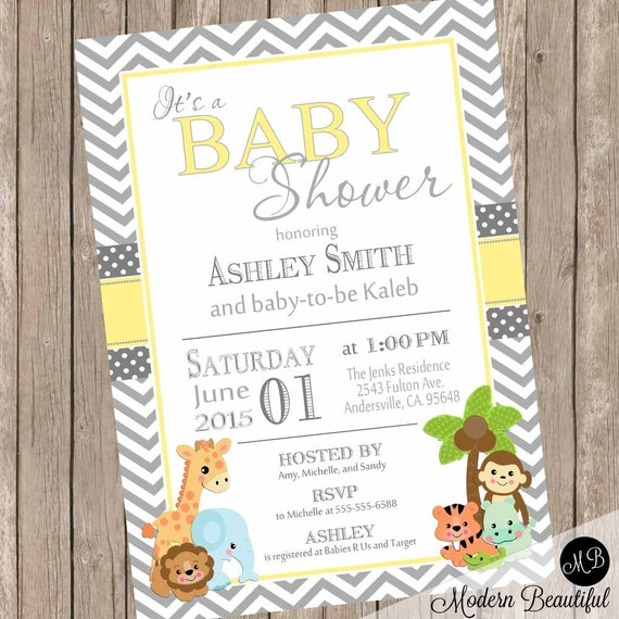 Yellow and gray baby shower invitation safari baby shower il570xn filmwisefo