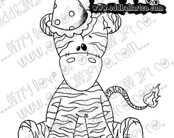 Digi Stamp Digital Instant Download Whimsical Ragdoll Zeddy the Zebra ~ Zeddys Party Image No. 210 by Lizzy Love