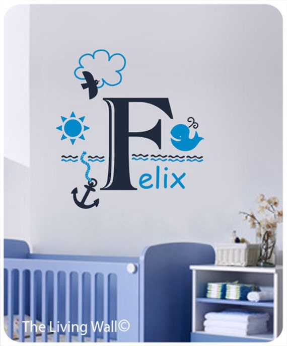 Nautical Wall Decals Personalized Name Decal Baby Boy Bedroom, Sea Personalized Baby Name,Nautical Name Wall Sticker Boys Bedroom Decor