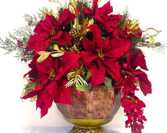 """Red Poinsettia Arrangement Christmas Arrangement Dining Table Centerpiece Tuscan Red and Gold 22""""h x 18""""w Large"""