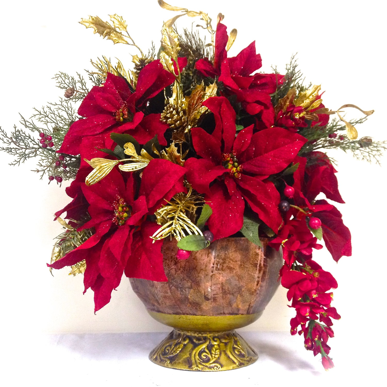 Red poinsettia arrangement christmas arrangement formal dining for Poinsettia arrangements