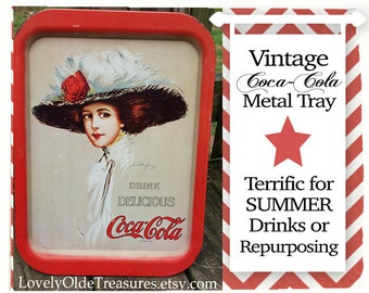Coca-cola Tray- Collectible Metal Tray- Coke Memorabilia- Red & White Drink Tray- Breakfast Tray- Vintage Advertisement Sign- Pool Party