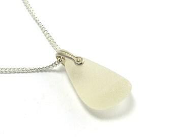 Sea Glass Jewelry Sea Glass Necklace Sea Glass Pendant Beach Glass Jewelry Beach Glass Pendant White Sea Glass Pendant Necklace TRISTA