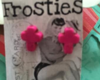 HOT PINK Magnesite CROSS Earrings