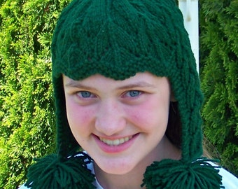 elegant handmade earflaps hunter green hat with pompoms