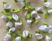 40pcs White Ribbon Rose Flowers For Headwear Decor Fashion Costume Supplies
