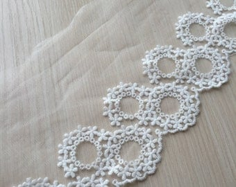 Cream White Cotton Tulle Lace Trim Floral Circles Embroidered Lace 5.11 Inches Wide 2 yards