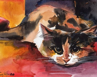 Print of the Original Watercolor Painting Calico Cat Kitty Kitten Three Colored Cat  By Yuliya Podlinnova