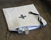 Zip pouch Cross, French antique Hemp linen,beige, Hand Wood Block Printing, Zippered Pouch